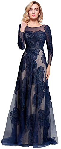 cbb0814197 ... Women s Long Sleeve Illusion Back Embroidery Lace Evening Dress Navy  Size 18.   