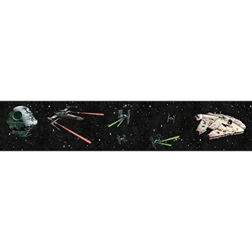 York Wallcoverings Disney Kids III Star Wars Classic Ships Border, Blacks (Wars Star Wallpaper Border)