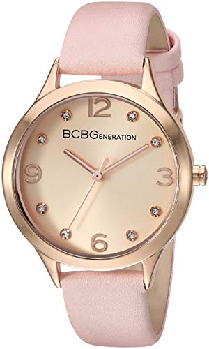 (BCBGGENERATION Women's Japanese-Quartz Watch with Leather-Synthetic Strap, Pink, 12.1 (Model: GN50722010))