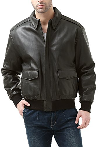 Landing Leathers Men's Premium Air Force A-2 Goatskin Leather Flight Bomber Jacket - Tall XXLT Dark Brown