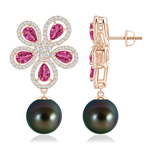 (Tahitian Cultured Pearl & Pink Sapphire Floral Earrings in 14K Rose Gold (10mm Tahitian Cultured Pearl))