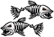 2pcs Skeleton Fish Vinyl Decals for Boat Fishing Graphics Stickers 18 x 9 cmProfessional and attractive
