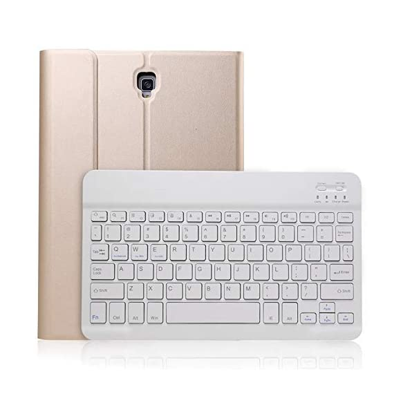Keyboard Case for Samsung Galaxy Tab A 10.5 2018 Model Sm-T590/T595/T597, Slim Shell Lightweight Stand Cover with Detachable Wireless Bluetooth Keyboard, Gold - 41ASyiZHoWL - Keyboard Case for Samsung Galaxy Tab A 10.5 2018 Model Sm-T590/T595/T597, Slim Shell Lightweight Stand Cover with Detachable Wireless Bluetooth Keyboard, Gold