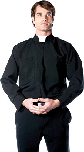 [Underwraps Costumes Men's Priest Costume - Long Sleeve Shirt, Black/White, One Size] (Biblical Themed Costumes)