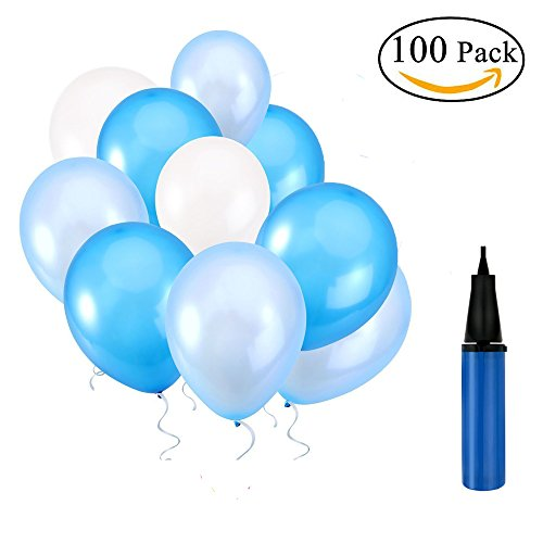 Latex Balloons 12 Inches white and Blue and Light Blue Party Balloons for Wedding, Proposal, Birthday Party Decorations (100 Pcs)