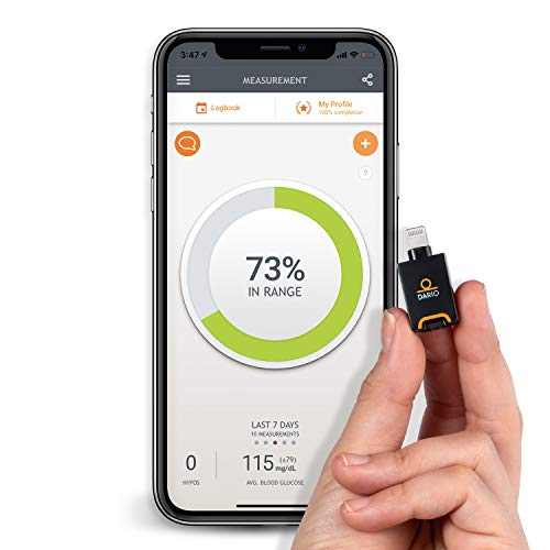 Dario LC Blood Glucose Smart Monitoring System for iPhone. Kit Includes: 25 Test Strips, 10 Sterile Lancets, 10 Disposable Hygienic Covers, All-in-One Portable Glucose Meter.