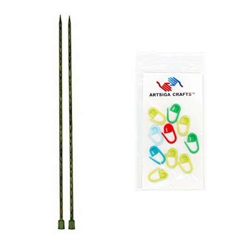 Knitter's Pride Dreamz Single Point 14-inch (35cm) Knitting Needles; Size US 9 (5.5mm) Bundle with 10 Artsiga Crafts Stitch Markers 200437
