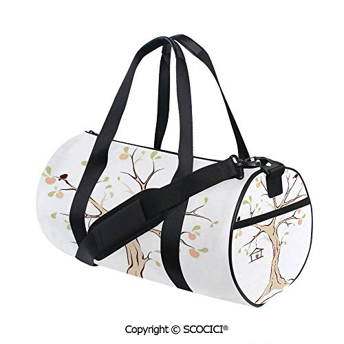 Unisex Cylinder Sports Bag,Illustration of Mature Tree with Fying Birds and the Nest Fruit Family DecorativeEasy to Carry,(17.6 x 9 x 9 in) Multi (Birds Nest Bean Bag)