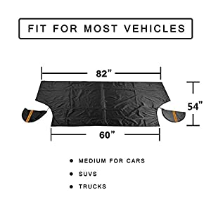 Magnetic Ice, Snow, Frost Guard Windshield Cover for Car, Truck, SUV - Protective All Season Waterproof Windproof Window Screen - Winter Auto Gear for Men, Women Drivers