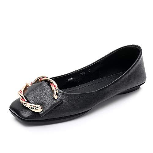 Zapatos Baja señoras Zapatos Casuales y Zapatos Zapatos de de de de Suaves Las Casuales Boca Antideslizantes la FLYRCX Planos Trabajo Cuero B cómodos 4d0H7dq