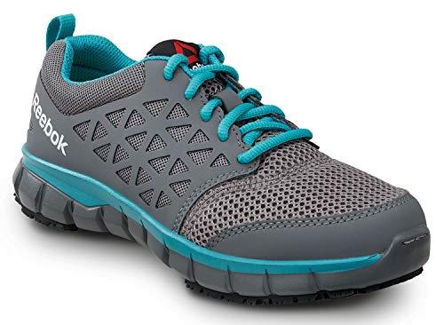 Reebok Sublite Women's Grey/Turquoise Soft Toe Slip Resistant Athletic (6.0 M)