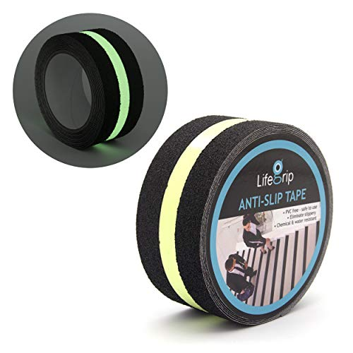 Anti Slip Traction Tape with Glow in Dark Green Stripe, 2 Inch x 15 Foot - Best Grip, Friction, Abrasive Adhesive for Stairs, Tread Step, Indoor, Outdoor, Black (2 inch X 15 feet Tape)