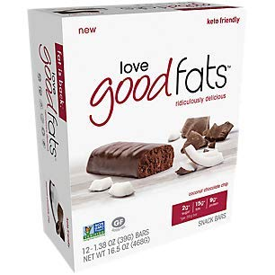 Love Good Fats Bars (Keto Bar, Keto Snacks for Keto Diet, Low Carb Snacks for Low Carb Diet, Low Net Carbs, Gluten Free, Non-GMO) - 12 bars x 39g each, Coconut Chocolate Chip ()