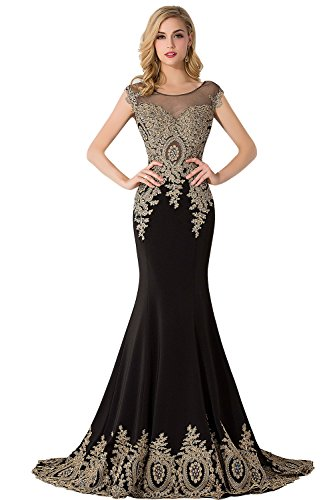 MisShow Women's Sexy Sheer Lace Neck Wedding Bridesmaid Ball Gown Black US16