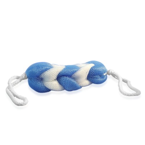 """Braided Mesh Body Scubber 6"""" Sponge with Rope Handles (Blue and White) {Dozen}"""