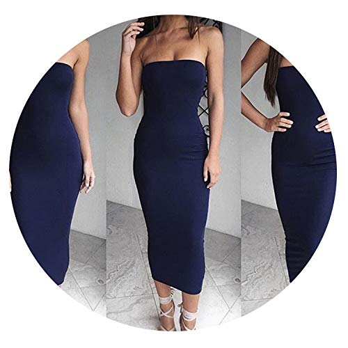 four- Off Shoulder Strapless Sexy Women Dress Sleeveless Straight Long Bodycon Backless Party Dress,Navy Blue,M