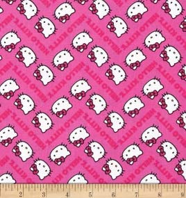 1/2 Yard - Hello Kitty Chevron & Faces on Pink Cotton Fabric - Officially Licensed (Great for Quilting, Sewing, Craft Projects, Throw Blankets & More) 1/2 Yard X 44