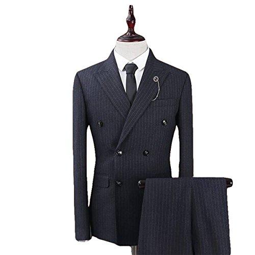 Piece Suits Double Breasted Retro Slim Dress (Grey Stripe 3 Button Suit)