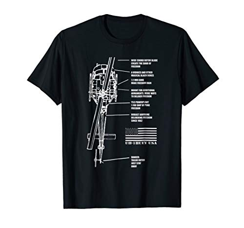 Bell Helicopter - Bell UH-1 Iroquois Blueprint Helicopter Engineer Gift Shirt