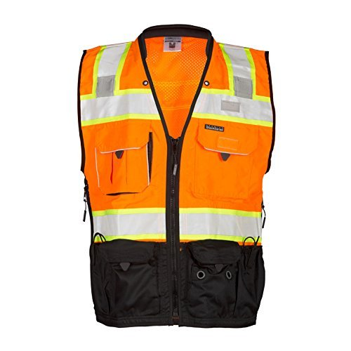 ML Kishigo - Premium Black Series Surveyors Vest - Orange Size: Medium