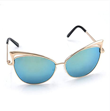 a4a0dac1a4a9f Image Unavailable. Image not available for. Color  Women S Gold Retro Cat  Eye Sunglasses Classic Designer Vintage Fashion Shades