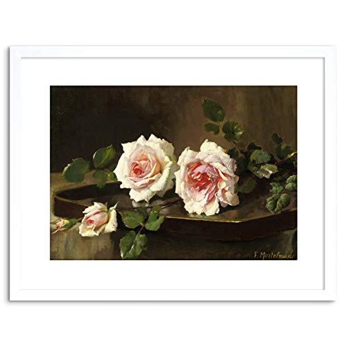 Painting Mortelmans Two Pink Prince Bulgaria Roses 9x7 Framed Wall Art Printの商品画像