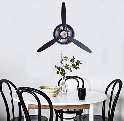 RISEON Vintage Metal Aircraft Airplane Propeller Fan Wall Hanging Wall Clocks Antique Large Wall Sculptures Art for Living Room Bedroom bathrooms Office Kitchen (Black)