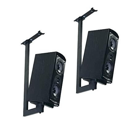 Pinpoint Mounts Bracket Side Clamping Bookshelf Speaker Ceiling Mount With Tilt Swivel Pair
