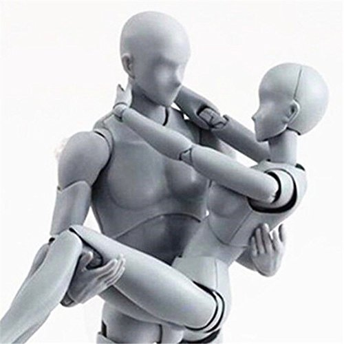 AUKMONT Action Figures Body-Kun DX & Body-Chan DX PVC Model for SHF(Grey Color Ver.) with Box (Female+Male) (Body Chan Body Kun Manga Drawing Figure)
