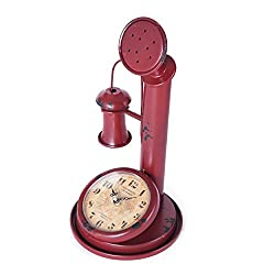 Elements 5179680 Vintage-Inspired Metal Tabletop Telephone Clock, 7 by 13, Red