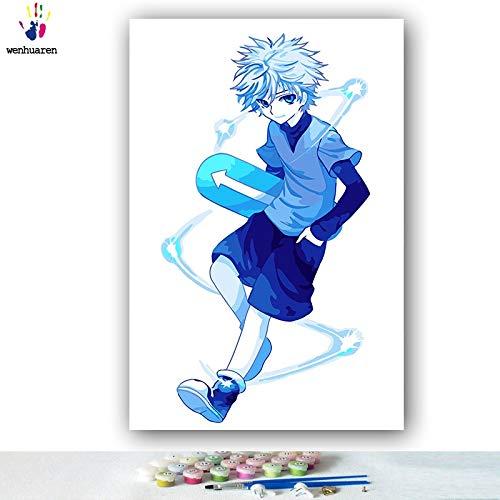 KYKDY DIY Färbungen Bilder nach Zahlen mit Farben Vollzeit Jäger japanische Manga-Bild Zeichnung Malen nach Zahlen gerahmt, 0382,60x75 kein Rahmen B07MYVT7KP | Starke Hitze- und Hitzebeständigkeit