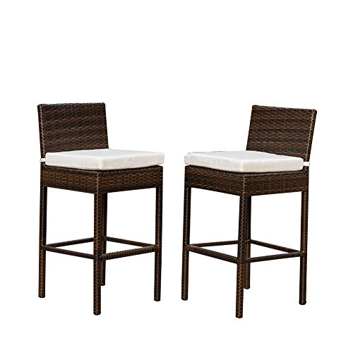 Sundale outdoor 2 pcs brown wicker counter height bar for Tall patio chairs sale