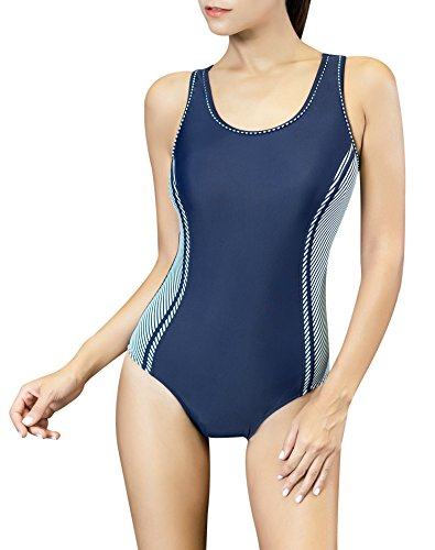 Uhnice Women's One Piece Swimsuits Racing Training Sports Athletic Swimwear (X-Large(US10-12), Navy/Stripe) (Built Swimwear Bra In)
