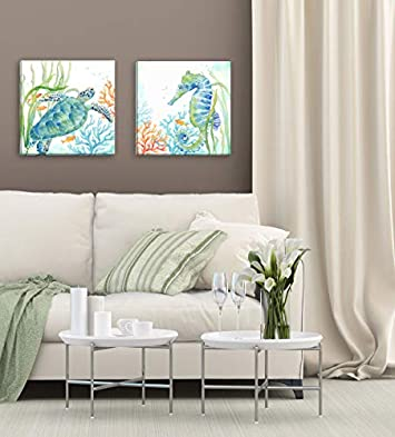 Roaring Brook Lovely Watercolor-Style Tropical Seahorse and Turtle Underwater Set by Cynthia Coulter Coastal D cor Two 16x16in Hand-Stretched Canvases