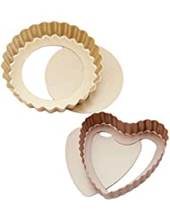 Quiche Tart Pans Round and Heart Shaped Mini Non-Stick Pie Pans with Removable Loose Bottom, Champagne (2 Pieces)