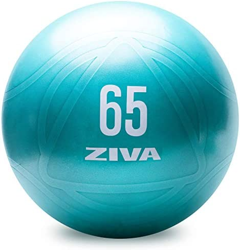 Ziva Anti Burst Core Fitness Exercise Ball - Professional Grade Slip Resistant Yoga Ball for Stability Balance - Includes Hand-Pump - Multiple Sizes, 55-75cm