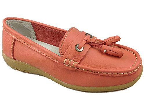 Ladies Cassie Cushion Walk Real Leather Tassel Slip On Wider fitting Loafer Moccasin Shoes Size 3-8 Pink vlarAQ
