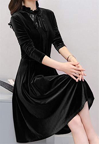 Di Lunga Metà Colore Velluto A Elegante Lungo Manica Una Giuntura Solido Nero Cromoncent Donne Abito Pizzo Falbala Linea HOwIEnXqnx