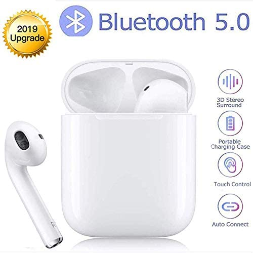 Bluetooth Headset 5.0 Wireless Earbuds 3D Stereo Noise Reduction IPX5 Waterproof In-Ear Headphones with Mic Pop-Up Window Fast Charging Compatible with Apple Airpods Android IPhone Samsung S10