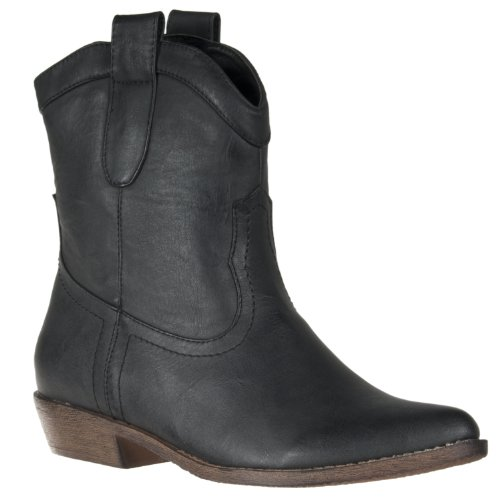 Wild Diva Womens Ripley Western-style Boot, Black, 5.5 (Boots Western Black Water)
