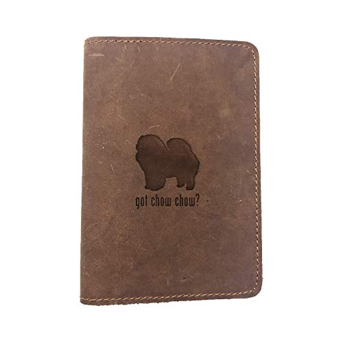 Animal Got Chow Chow Dog (Milk Chocolate) Engraved (Set Of 2) - Deluxe Full Grain Leather Passport Cover Wallet Case - Handmade With Traditional Craftsmanship - Can Store Two Us Passports