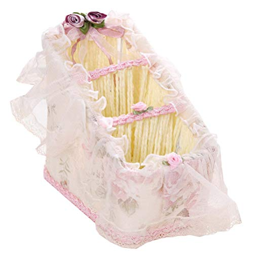 DRAGON SONIC Beautiful Fabric Lace Storage Basket Desktop Storage Basket,G3