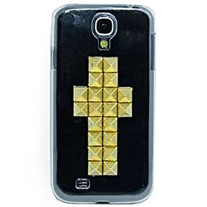 Punk Golden Metal Cross PU Leather Full Body Case with Stand for Samsung Galaxy S4 I9500