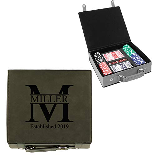 Sofia's Findings Personalized Poker Chip Set - Custom Gifts for Poker Players | Miller Design (Grey)