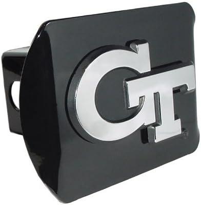 Elektroplate Georgia Tech Yellow Jackets Black Metal Trailer Hitch Cover Chrome Metal with NCAA Logo Fits 2 Receivers