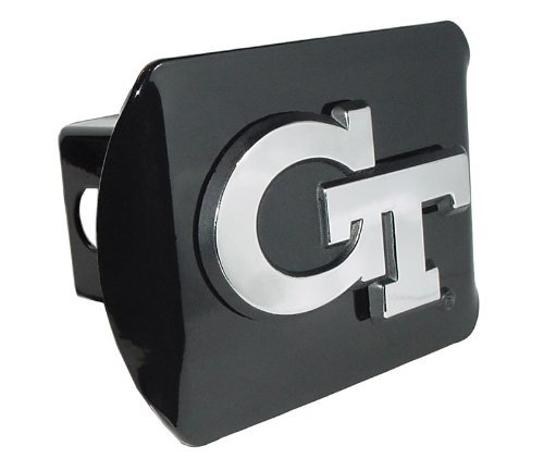 Georgia Tech Yellow Jackets Black Metal Trailer Hitch Cover Chrome Metal with NCAA Logo Fits 2