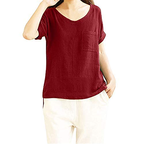 (Xinantime Women's Cotton and Linen Short-Sleeved top, Casual and Comfortable Linen Round Neck Solid Color T-Shirt top Red)