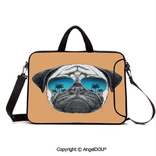 AngelDOU Notebook Bag for School Laptop Sleeve Messenger Bags Dog with Reflecting Aviators Palm Trees Tropical Environment Cool Pet Animal Dec PC Cover case Compatible with mac pro/asus/acer/hp/xia ()