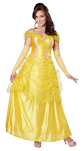 [California Costumes Women's Classic Beauty Fairytale Princess Long Dress Gown, Yellow, Small] (Belle Halloween Costumes For Adults)