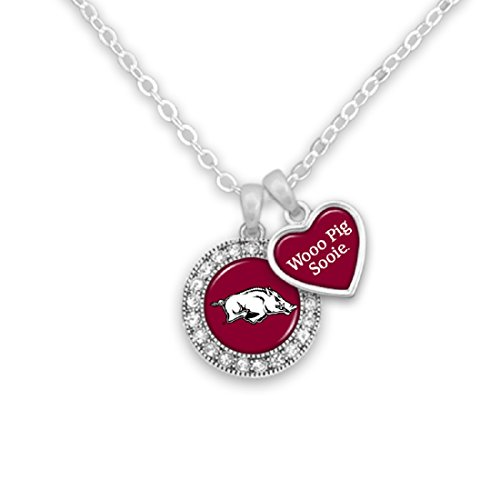 Sports Team Accessories Arkansas Razorbacks Logo and a Heart Shaped Charm Necklace Featuring Team Slogan